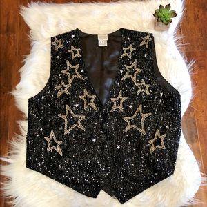 Festival Ready Vintage Sequined Beaded Stars Vest